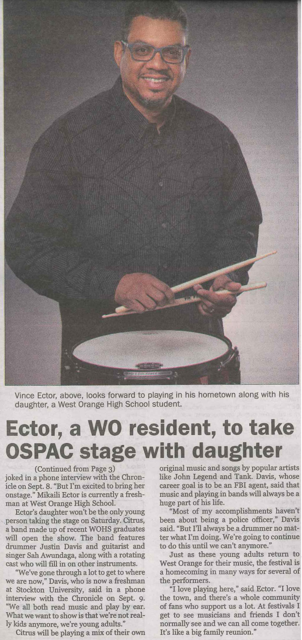 Ector, a WO resident, to take OSPAC stage with daughter